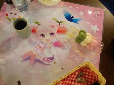 Cherry-flavored dango with special cherry flavored tea (Good Smile Cafe, Sakura Miku promo)